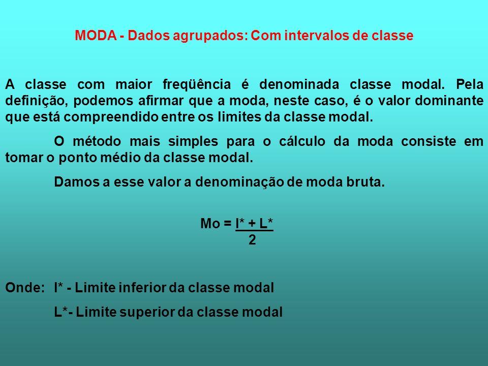 MODA - Dados agrupados: Com intervalos de classe A classe com maior freqüência é denominada classe modal. Pela definição, podemos afirmar que a moda,