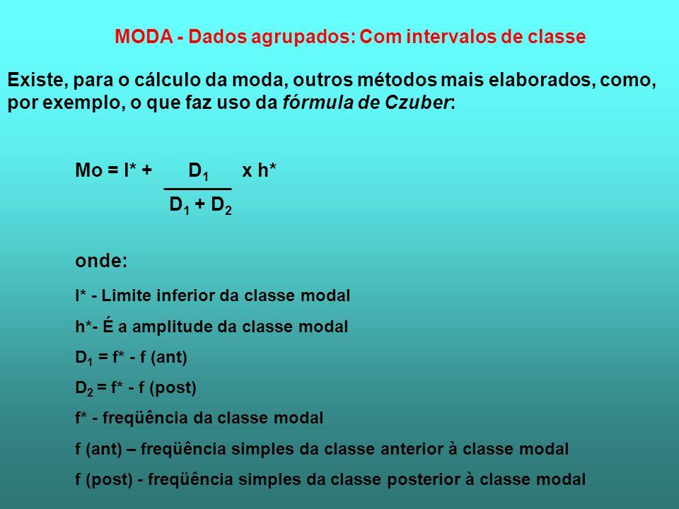 Existe, para o cálculo da moda, outros métodos mais elaborados, como, por exemplo, o que faz uso da fórmula de Czuber: Mo = l* + D 1 x h* D 1 + D 2 on