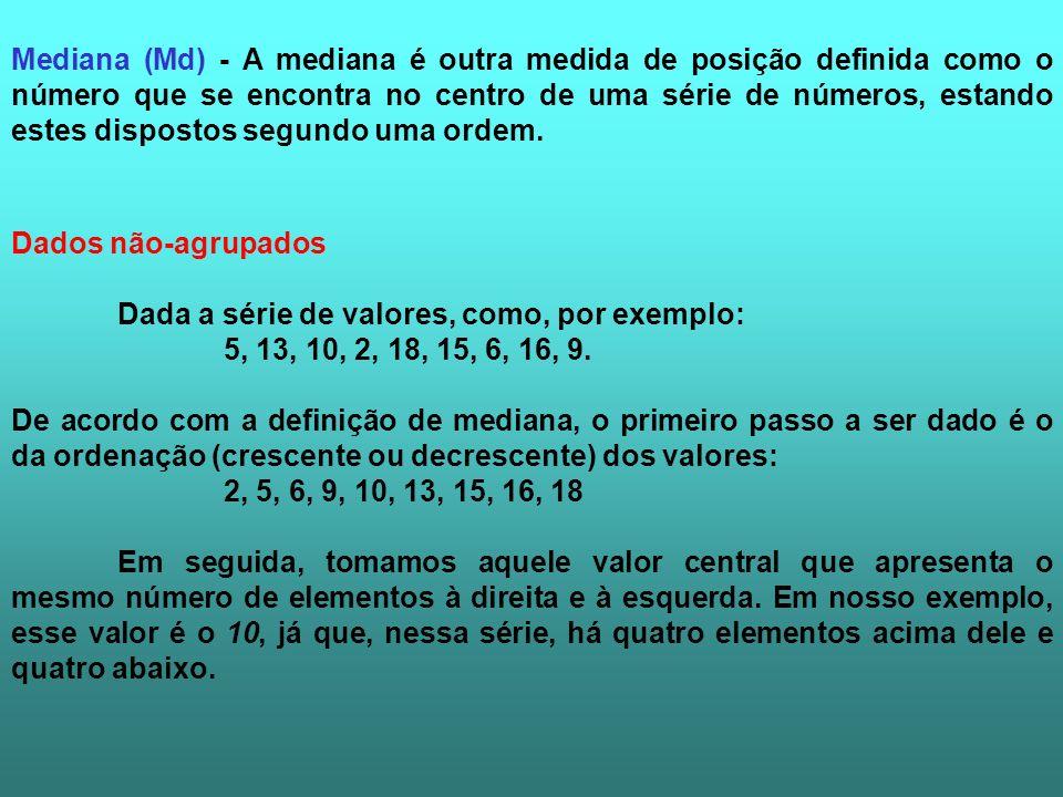 Dados não-agrupados Dada a série de valores, como, por exemplo: 5, 13, 10, 2, 18, 15, 6, 16, 9. De acordo com a definição de mediana, o primeiro passo