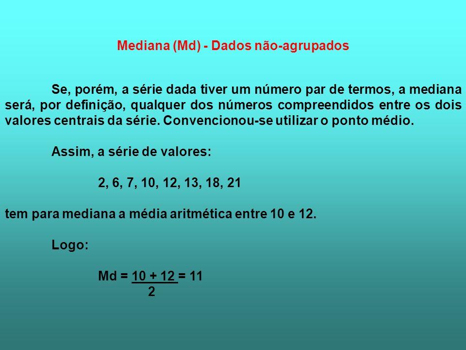 Mediana (Md) - Dados não-agrupados Se, porém, a série dada tiver um número par de termos, a mediana será, por definição, qualquer dos números compreen