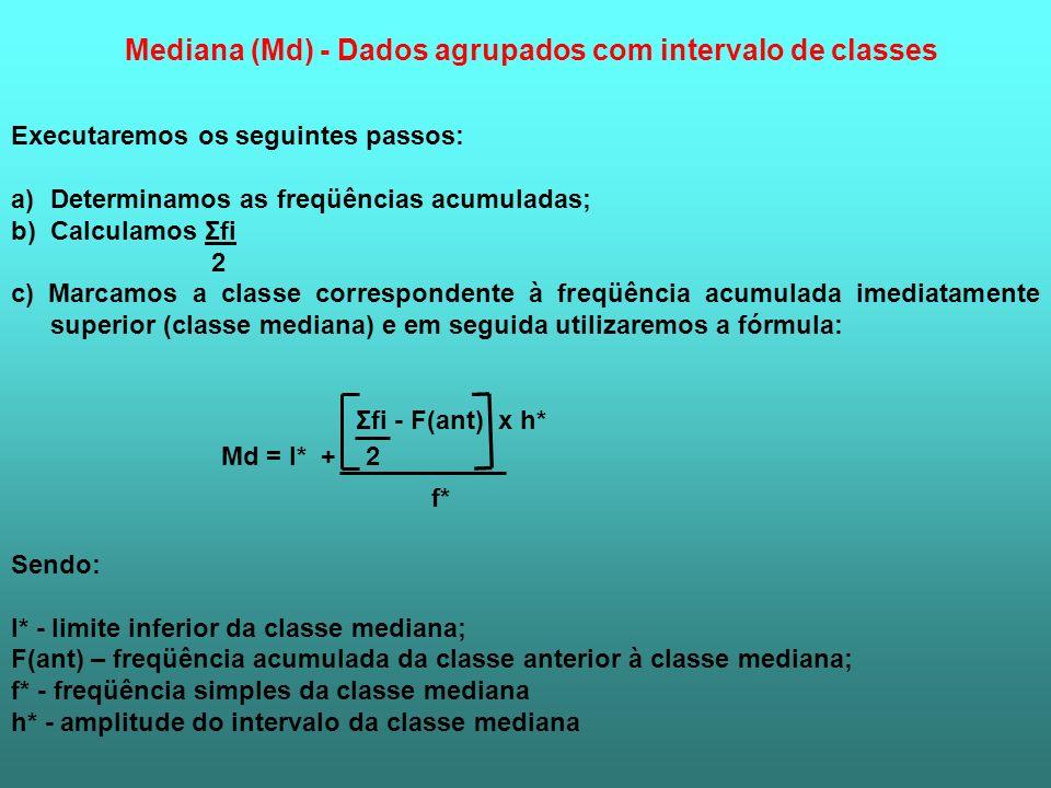Mediana (Md) - Dados agrupados com intervalo de classes Executaremos os seguintes passos: a)Determinamos as freqüências acumuladas; b)Calculamos Σfi 2