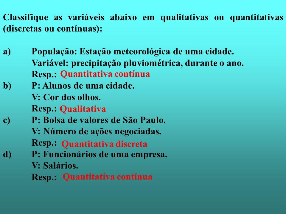 Classifique as variáveis abaixo em qualitativas ou quantitativas (discretas ou contínuas): a) População: Estação meteorológica de uma cidade. Variável