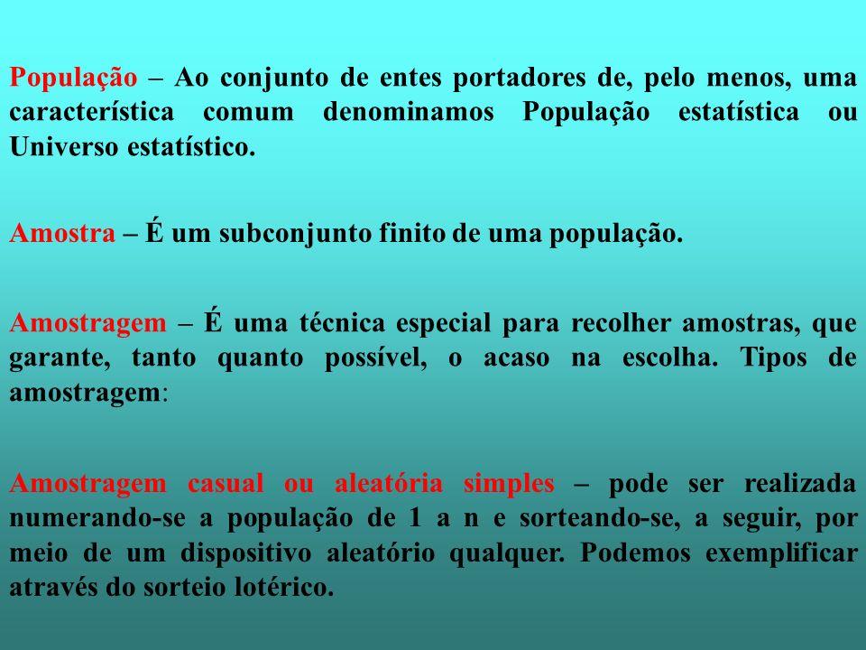 População – Ao conjunto de entes portadores de, pelo menos, uma característica comum denominamos População estatística ou Universo estatístico. Amostr