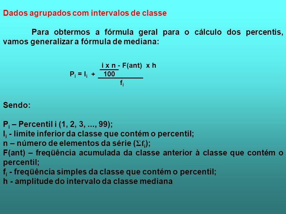 Dados agrupados com intervalos de classe Para obtermos a fórmula geral para o cálculo dos percentis, vamos generalizar a fórmula de mediana: i x n - F