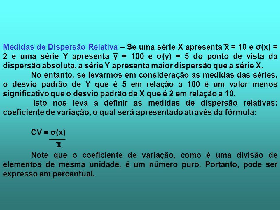 Medidas de Dispersão Relativa – Se uma série X apresenta x = 10 e σ(x) = 2 e uma série Y apresenta y = 100 e σ(y) = 5 do ponto de vista da dispersão a