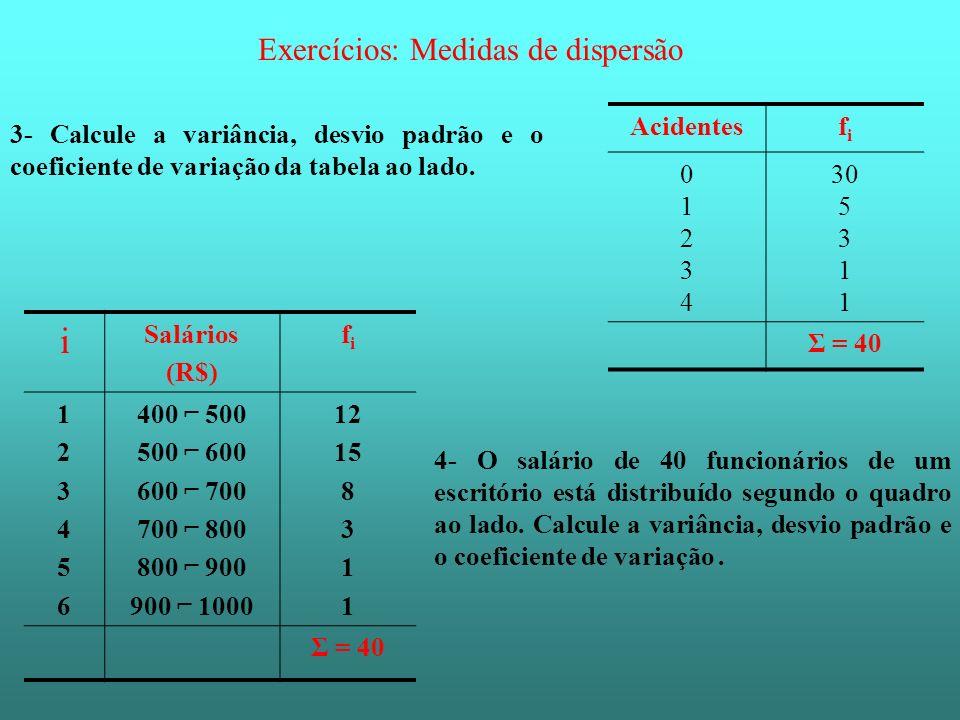 Exercícios: Medidas de dispersão 3- Calcule a variância, desvio padrão e o coeficiente de variação da tabela ao lado. Acidentesfifi 0123401234 30 5 3