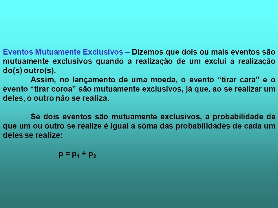 Eventos Mutuamente Exclusivos – Dizemos que dois ou mais eventos são mutuamente exclusivos quando a realização de um exclui a realização do(s) outro(s