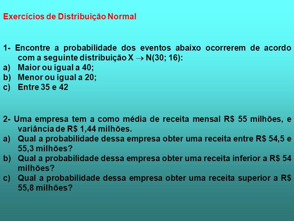 1- Encontre a probabilidade dos eventos abaixo ocorrerem de acordo com a seguinte distribuição X N(30; 16): a)Maior ou igual a 40; b)Menor ou igual a