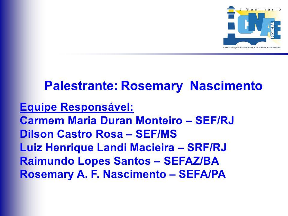 Palestrante: Rosemary Nascimento Equipe Responsável: Carmem Maria Duran Monteiro – SEF/RJ Dilson Castro Rosa – SEF/MS Luiz Henrique Landi Macieira – S