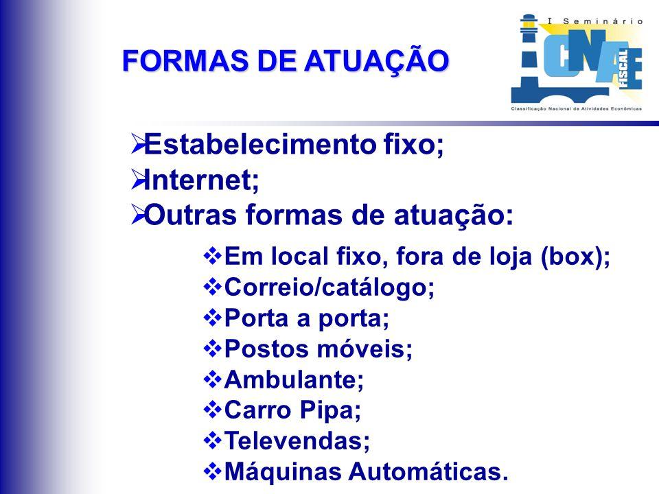Estabelecimento fixo; Internet; Outras formas de atuação: Em local fixo, fora de loja (box); Correio/catálogo; Porta a porta; Postos móveis; Ambulante
