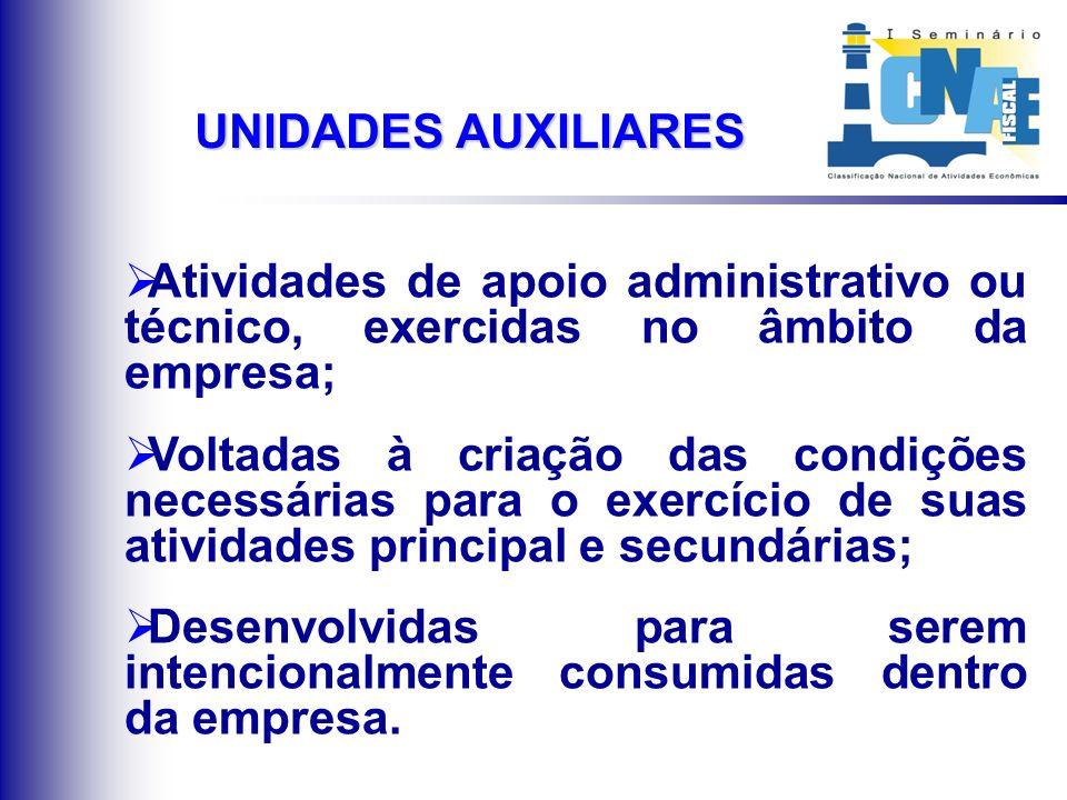 UNIDADES AUXILIARES Atividades de apoio administrativo ou técnico, exercidas no âmbito da empresa; Voltadas à criação das condições necessárias para o