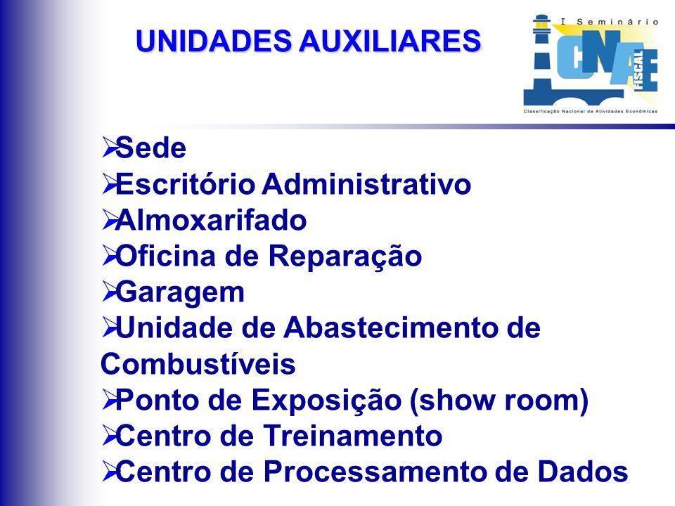 Sede Escritório Administrativo Almoxarifado Oficina de Reparação Garagem Unidade de Abastecimento de Combustíveis Ponto de Exposição (show room) Centr