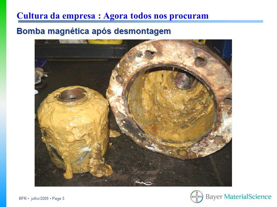 BFR julho/2009 Page 6 Cultura da empresa : Agora todos nos procuram Caso exemplo : Perda de rendimento em bombas magnéticas Soluções propostas : Economia de R$ 519.000,00 em 5 anos Substituição dos rolamentos para com lubrificação definitiva (2RS ou Solid Oil).