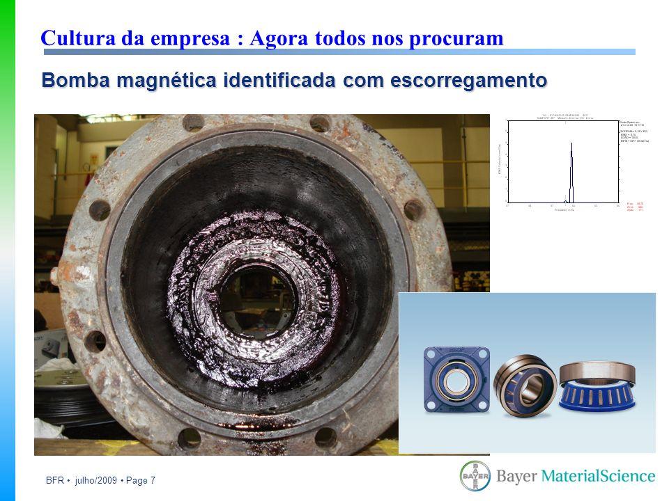 BFR julho/2009 Page 7 Cultura da empresa : Agora todos nos procuram Bomba magnética identificada com escorregamento