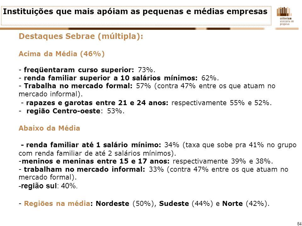 84 Instituições que mais apóiam as pequenas e médias empresas Destaques Sebrae (múltipla): Acima da Média (46%) - freqüentaram curso superior: 73%. -