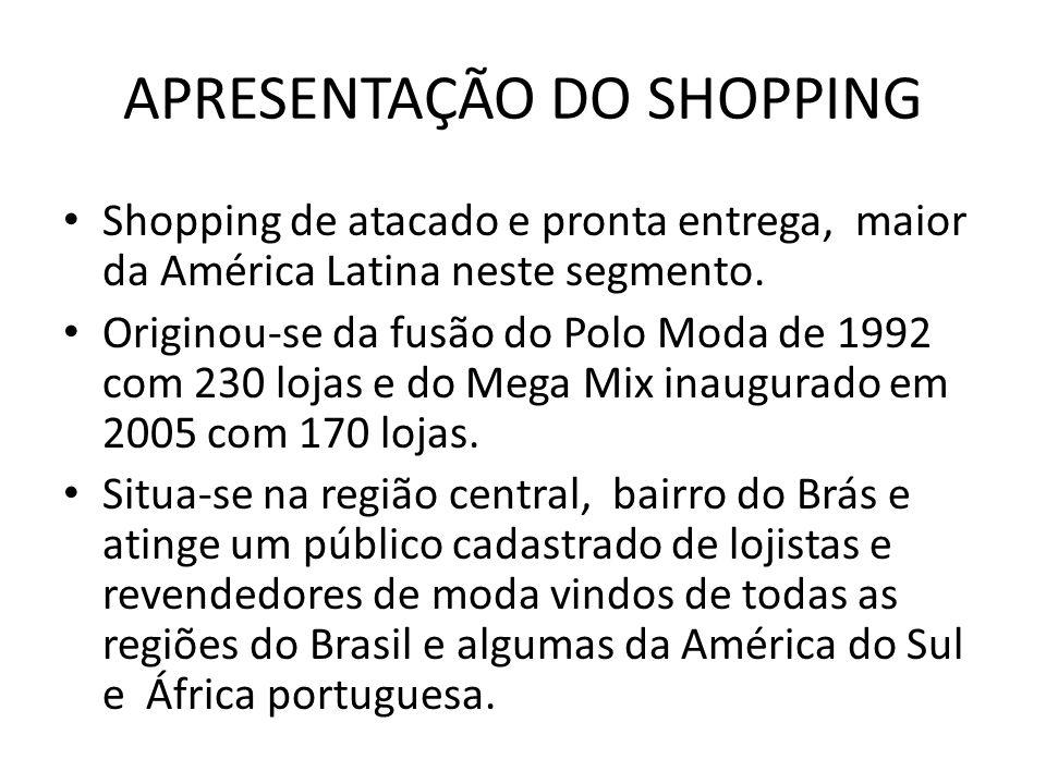 APRESENTAÇÃO DO SHOPPING Shopping de atacado e pronta entrega, maior da América Latina neste segmento. Originou-se da fusão do Polo Moda de 1992 com 2