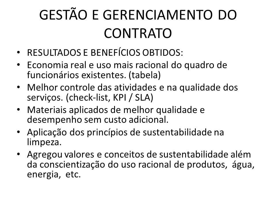 GESTÃO E GERENCIAMENTO DO CONTRATO RESULTADOS E BENEFÍCIOS OBTIDOS: Economia real e uso mais racional do quadro de funcionários existentes. (tabela) M