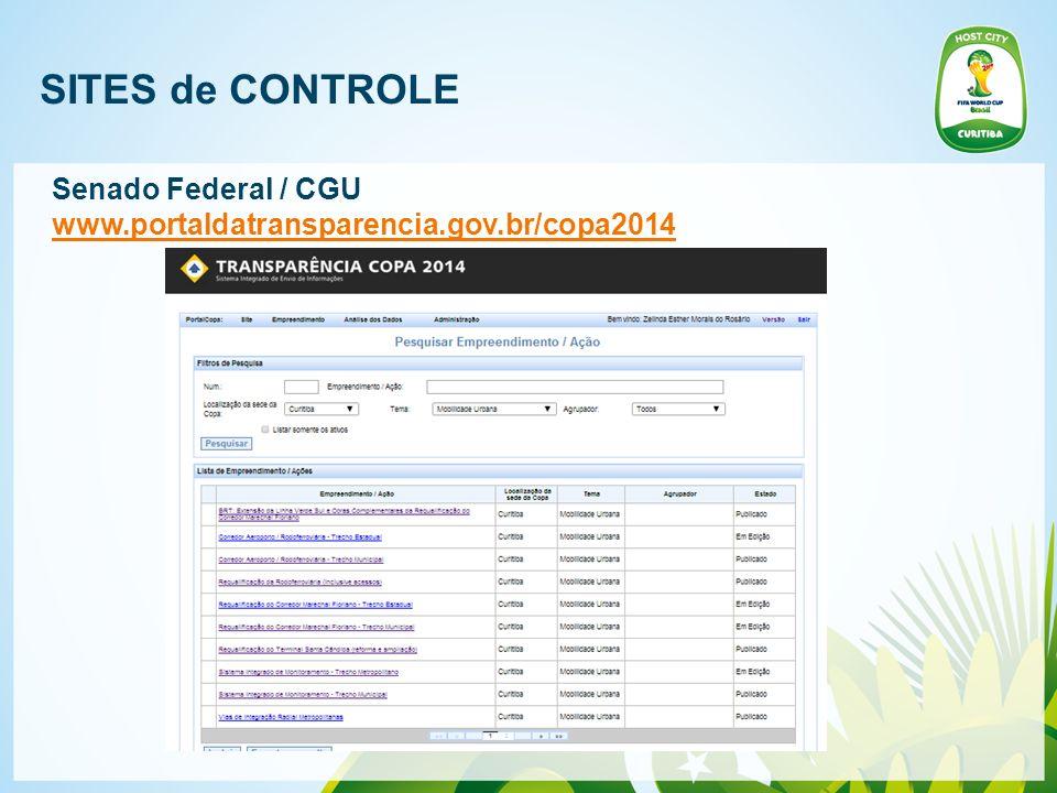 SITES de CONTROLE Senado Federal / CGU www.portaldatransparencia.gov.br/copa2014