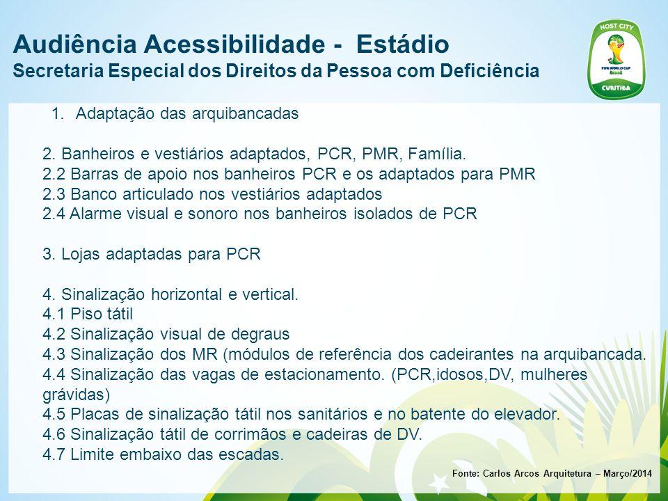 Audiência Acessibilidade - Estádio Secretaria Especial dos Direitos da Pessoa com Deficiência Fonte: Carlos Arcos Arquitetura – Março/2014 1.Adaptação