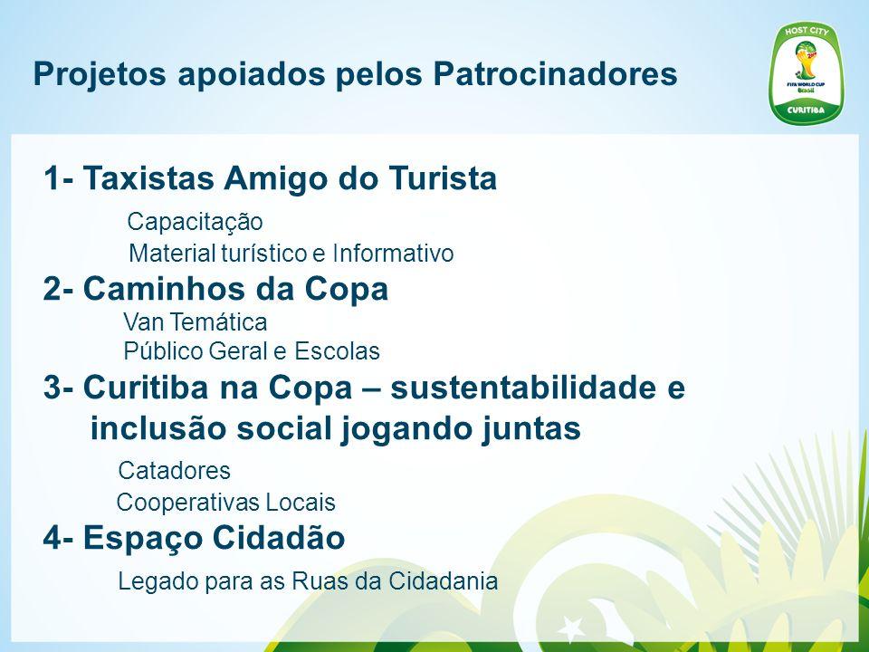 Projetos apoiados pelos Patrocinadores 1- Taxistas Amigo do Turista Capacitação Material turístico e Informativo 2- Caminhos da Copa Van Temática Públ