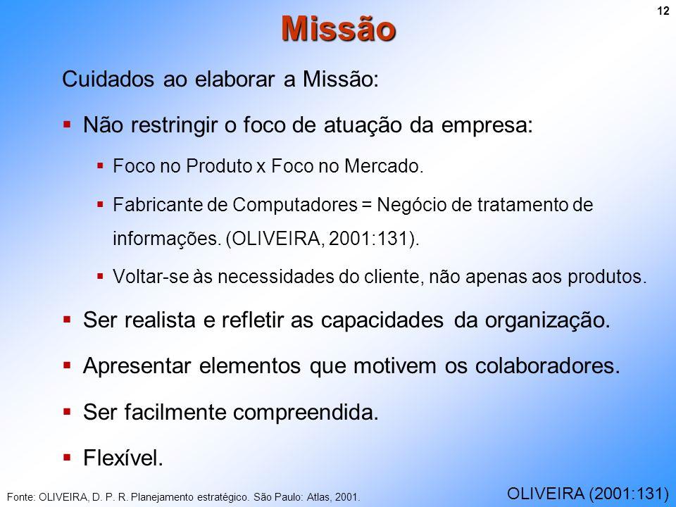 Cuidados ao elaborar a Missão: Não restringir o foco de atuação da empresa: Foco no Produto x Foco no Mercado. Fabricante de Computadores = Negócio de