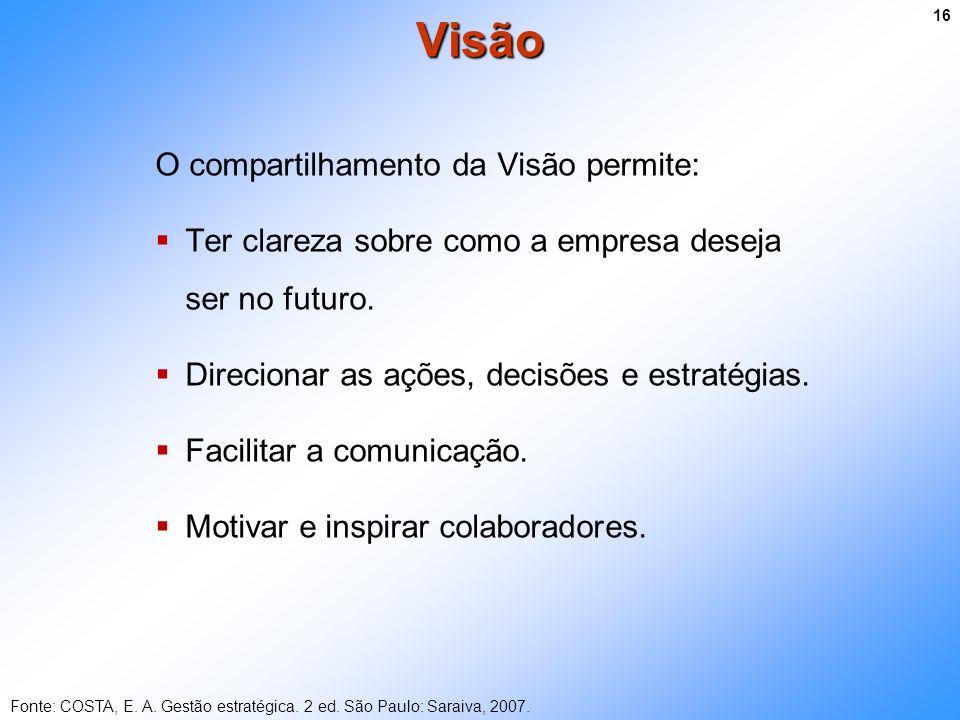 O compartilhamento da Visão permite: Ter clareza sobre como a empresa deseja ser no futuro. Direcionar as ações, decisões e estratégias. Facilitar a c