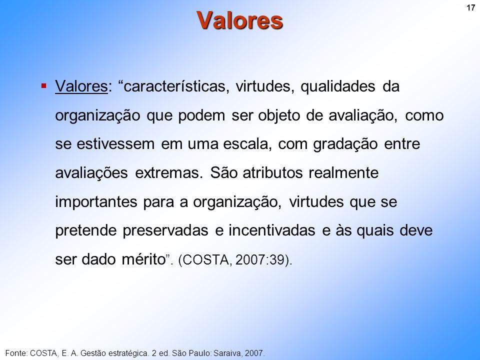 Valores: características, virtudes, qualidades da organização que podem ser objeto de avaliação, como se estivessem em uma escala, com gradação entre