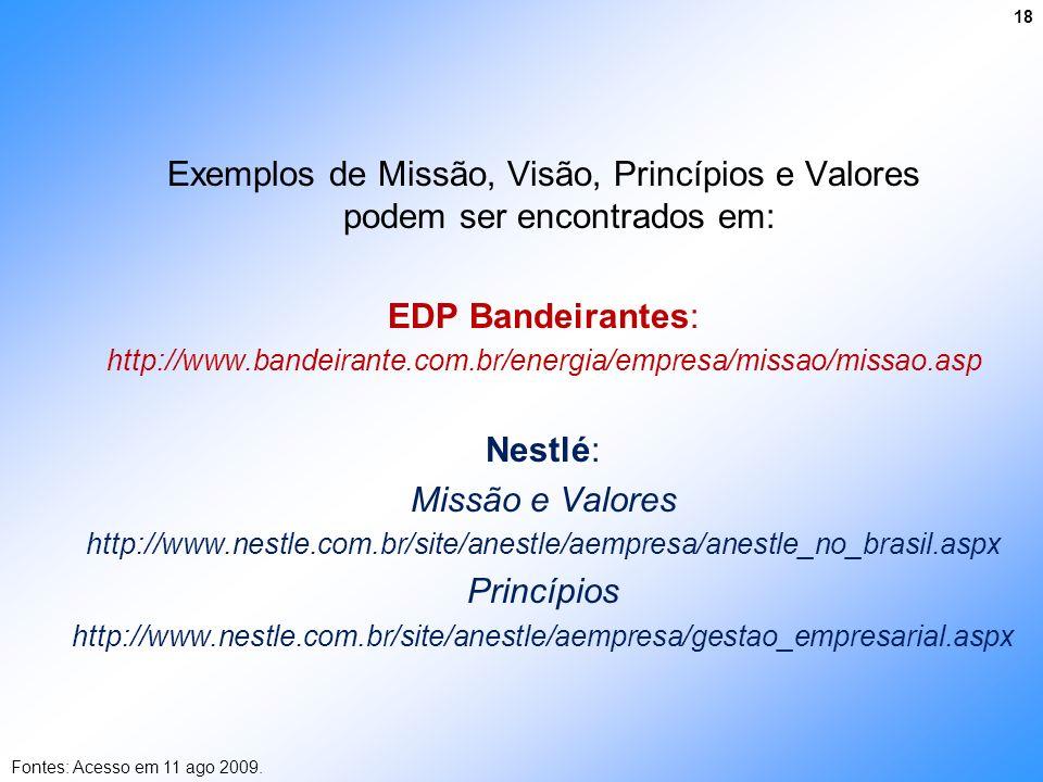 Exemplos de Missão, Visão, Princípios e Valores podem ser encontrados em: EDP Bandeirantes: http://www.bandeirante.com.br/energia/empresa/missao/missa
