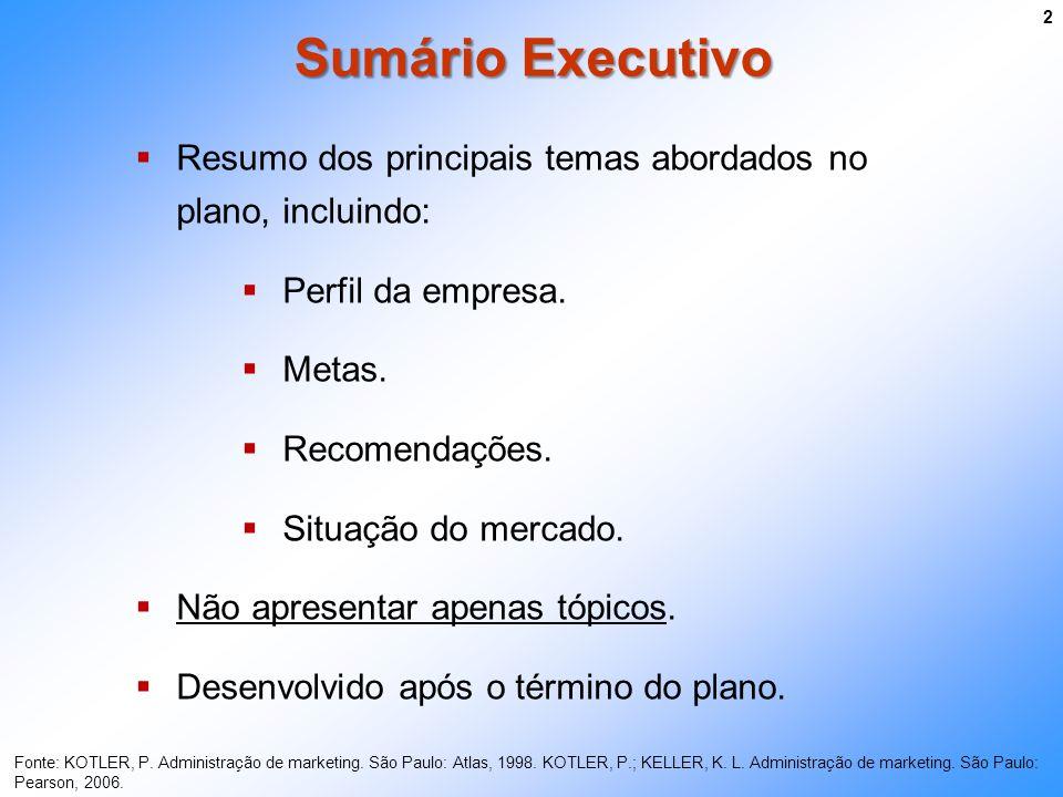 Sumário Executivo 2 Resumo dos principais temas abordados no plano, incluindo: Perfil da empresa. Metas. Recomendações. Situação do mercado. Não apres