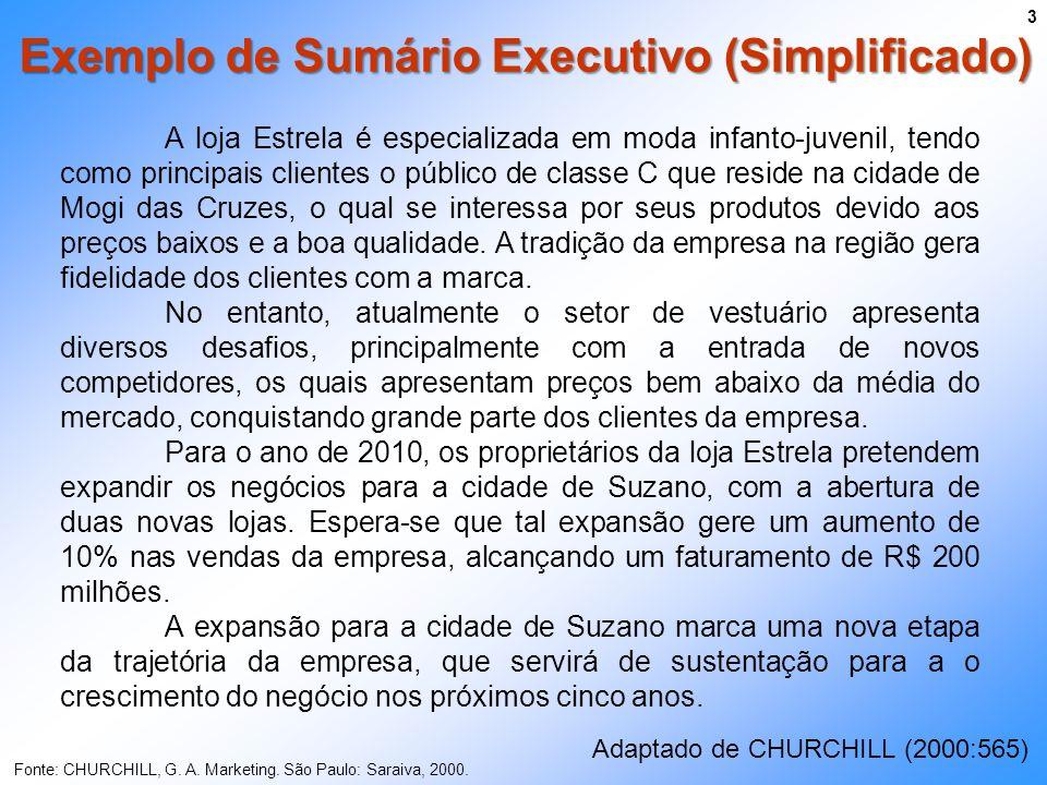 Exemplo de Sumário Executivo (Simplificado) 3 Fonte: CHURCHILL, G. A. Marketing. São Paulo: Saraiva, 2000. A loja Estrela é especializada em moda infa