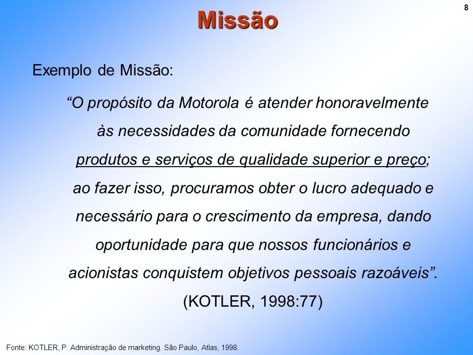 Exemplo de Missão: O propósito da Motorola é atender honoravelmente às necessidades da comunidade fornecendo produtos e serviços de qualidade superior