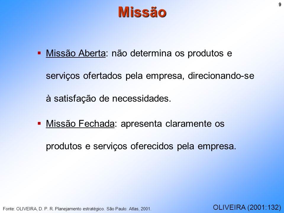 Missão Aberta: não determina os produtos e serviços ofertados pela empresa, direcionando-se à satisfação de necessidades. Missão Fechada: apresenta cl