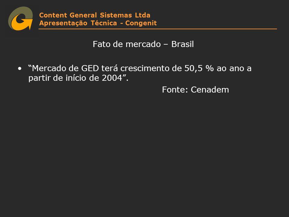 Content General Sistemas Ltda Apresentação Técnica - Congenit Fato de mercado – Brasil Mercado de GED terá crescimento de 50,5 % ao ano a partir de in