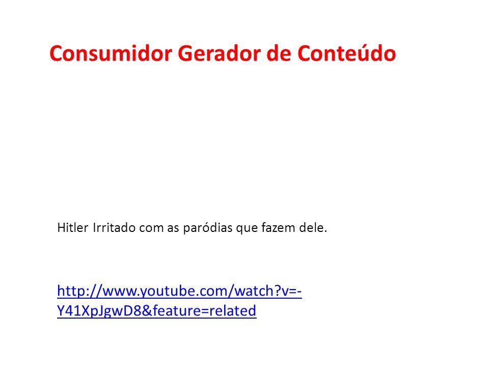 Consumidor Gerador de Conteúdo Hitler Irritado com as paródias que fazem dele. http://www.youtube.com/watch?v=- Y41XpJgwD8&feature=related