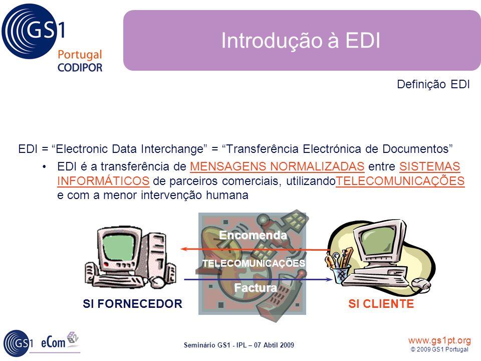 www.gs1pt.org © 2009 GS1 Portugal Seminário GS1 - IPL – 07 Abtil 2009 Introdução à EDI EDI = Electronic Data Interchange = Transferência Electrónica d