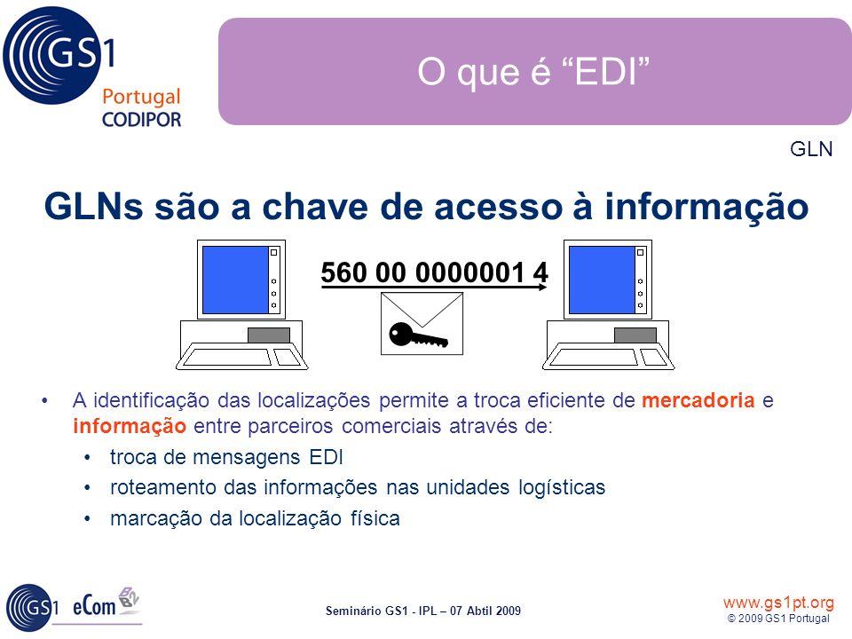 www.gs1pt.org © 2009 GS1 Portugal Seminário GS1 - IPL – 07 Abtil 2009 560 00 0000001 4 A identificação das localizações permite a troca eficiente de m
