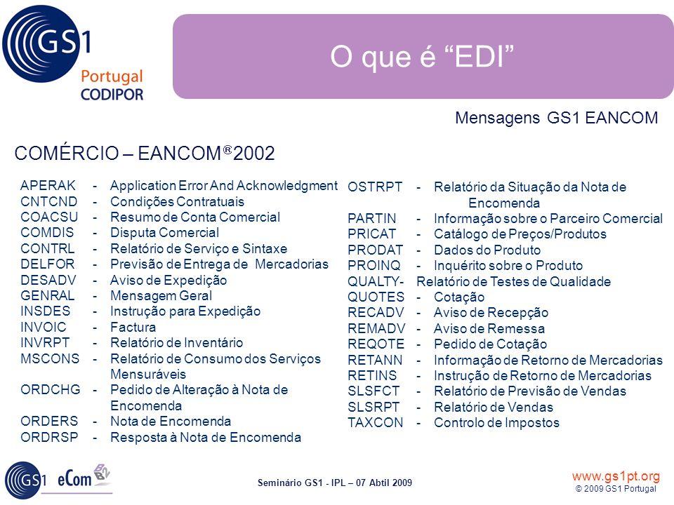 www.gs1pt.org © 2009 GS1 Portugal Seminário GS1 - IPL – 07 Abtil 2009 APERAK - Application Error And Acknowledgment CNTCND -Condições Contratuais COAC
