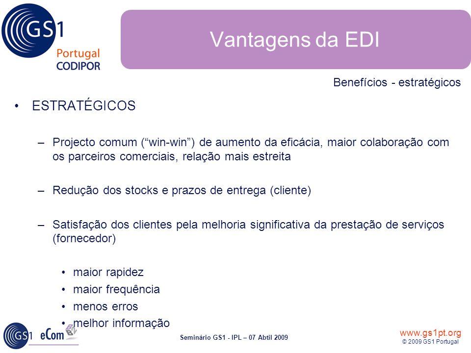 www.gs1pt.org © 2009 GS1 Portugal Seminário GS1 - IPL – 07 Abtil 2009 ESTRATÉGICOS –Projecto comum (win-win) de aumento da eficácia, maior colaboração