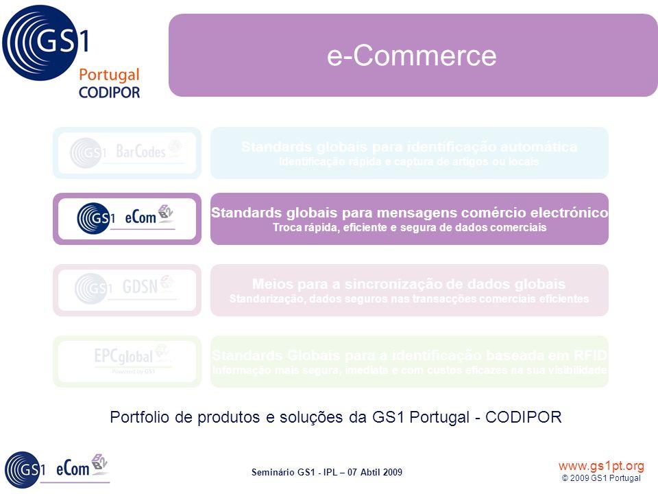 www.gs1pt.org © 2009 GS1 Portugal Seminário GS1 - IPL – 07 Abtil 2009 Standards Globais para a identificação baseada em RFID Informação mais segura, imediata e com custos eficazes na sua visibilidade Meios para a sincronização de dados globais Standarização, dados seguros nas transacções comerciais eficientes Standards globais para identificação automática Identificação rápida e captura de artigos ou locais Portfolio de produtos e soluções da GS1 Portugal - CODIPOR Standards globais para mensagens comércio electrónico Troca rápida, eficiente e segura de dados comerciais e-Commerce