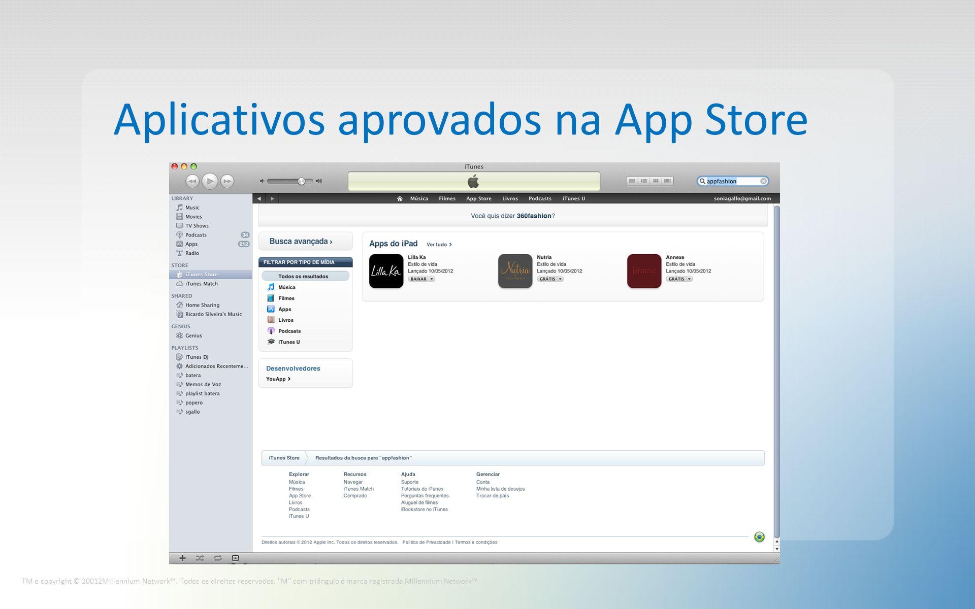 Aplicativos aprovados na App Store TM e copyright © 20012Millennium Network.