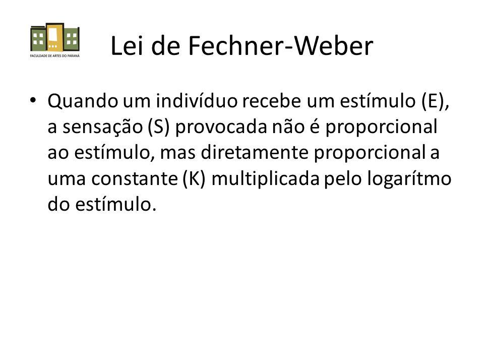 Lei de Fechner-Weber Quando um indivíduo recebe um estímulo (E), a sensação (S) provocada não é proporcional ao estímulo, mas diretamente proporcional