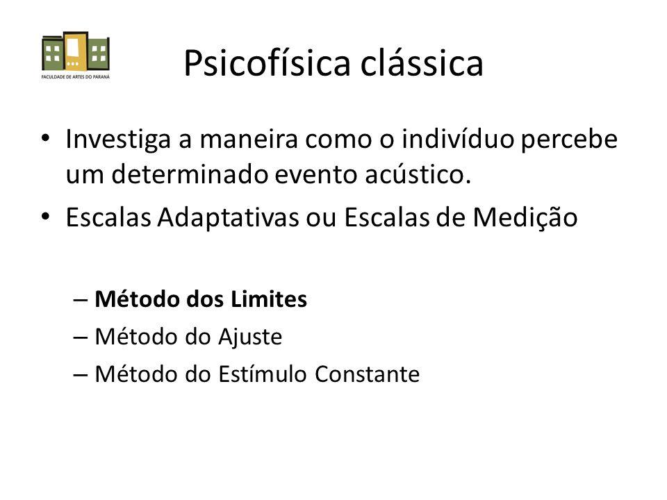 Psicofísica clássica Investiga a maneira como o indivíduo percebe um determinado evento acústico. Escalas Adaptativas ou Escalas de Medição – Método d