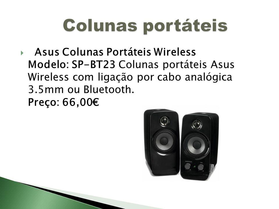 Asus Colunas Portáteis Wireless Modelo: SP-BT23 Colunas portáteis Asus Wireless com ligação por cabo analógica 3.5mm ou Bluetooth.
