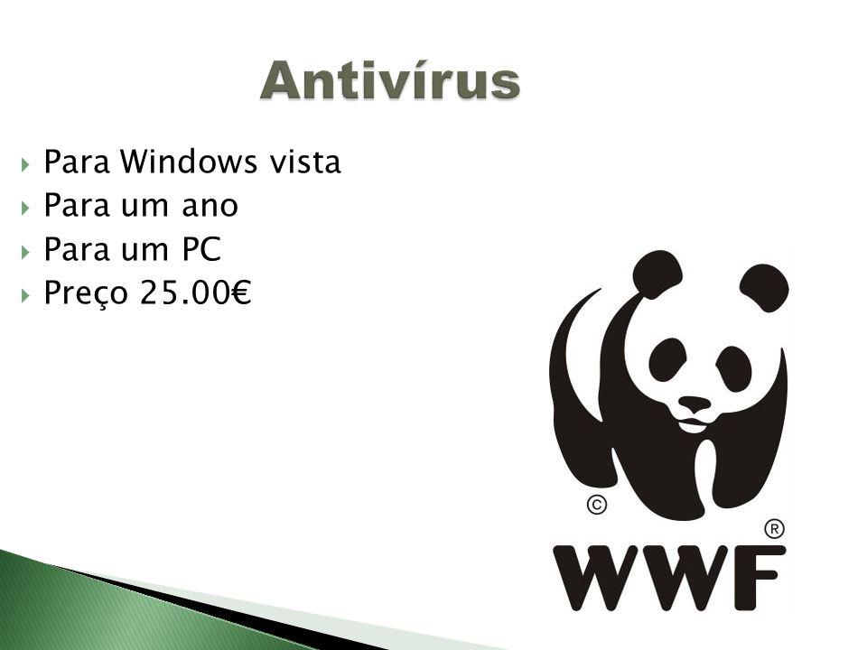 Antivírus Para Windows vista Para um ano Para um PC Preço 25.00