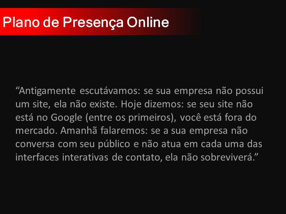 Plano de Presença Online Antigamente escutávamos: se sua empresa não possui um site, ela não existe.