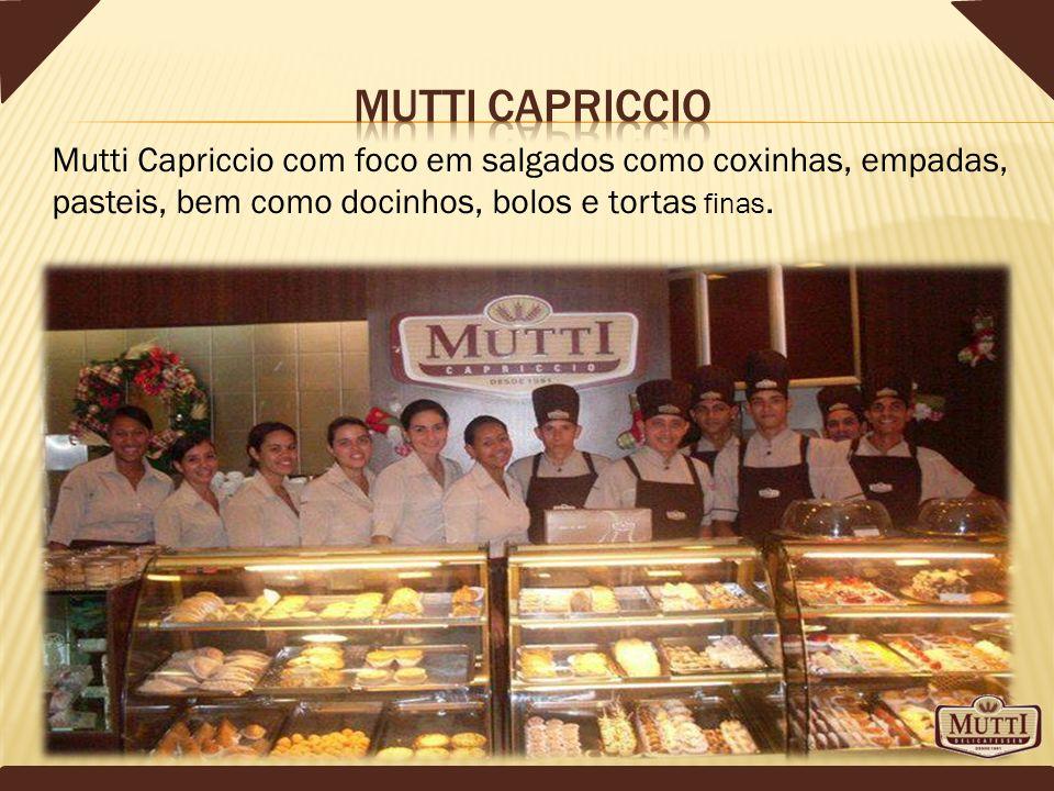 Mutti Capriccio com foco em salgados como coxinhas, empadas, pasteis, bem como docinhos, bolos e tortas finas.