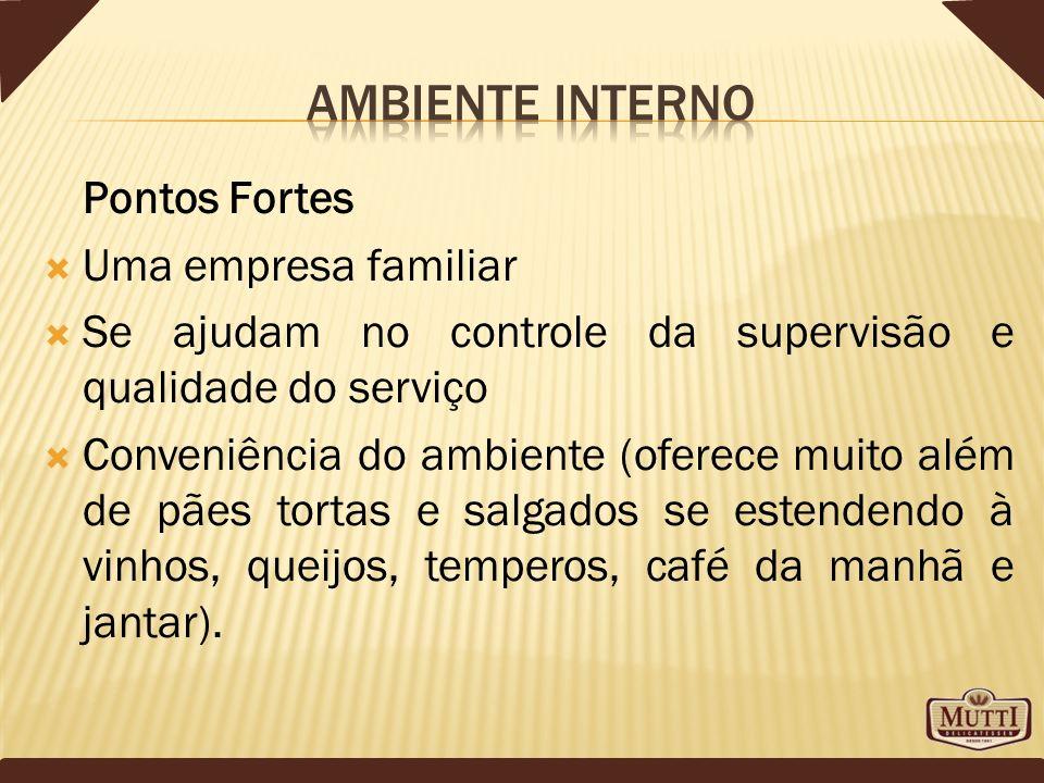 Pontos Fortes Uma empresa familiar Se ajudam no controle da supervisão e qualidade do serviço Conveniência do ambiente (oferece muito além de pães tor