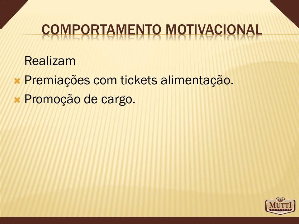 Realizam Premiações com tickets alimentação. Promoção de cargo.