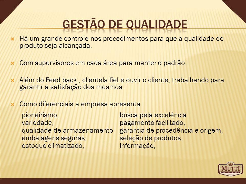 Há um grande controle nos procedimentos para que a qualidade do produto seja alcançada. Com supervisores em cada área para manter o padrão. Além do Fe