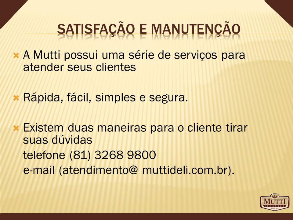 A Mutti possui uma série de serviços para atender seus clientes Rápida, fácil, simples e segura. Existem duas maneiras para o cliente tirar suas dúvid